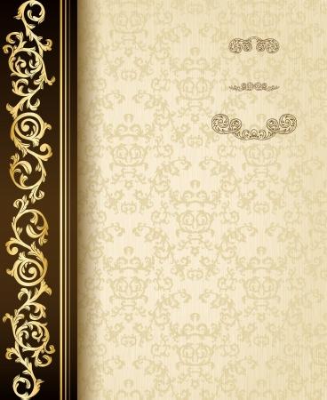 decorative card symbols: Stylish vintage background with golden ornament and damask pattern  Illustration