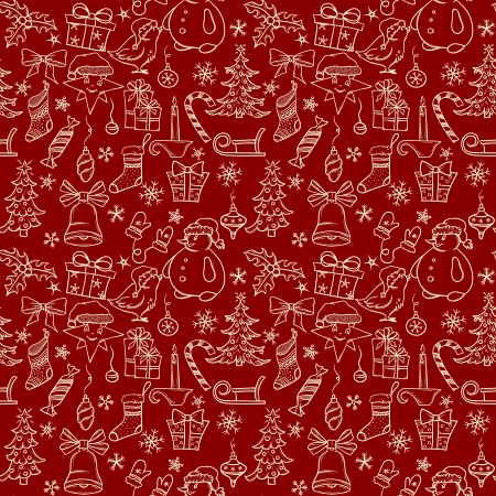 christmas wrapping: Christmas seamless pattern with big set of christmas objects