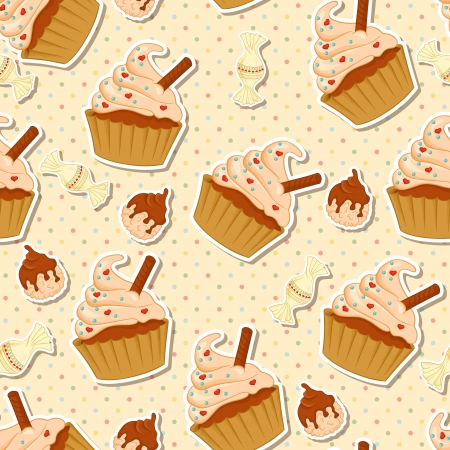 Seamless pattern with cupcake and candies Vector
