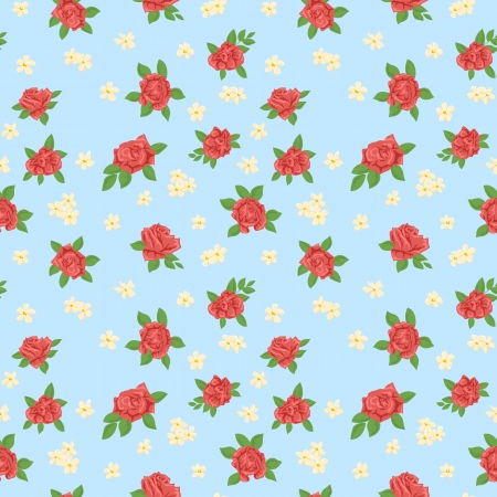 Cute floral seamless pattern on blue background  Vector