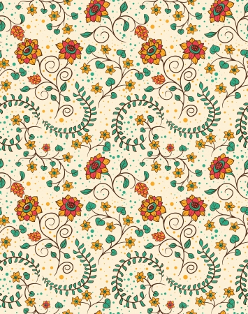Floral seamless pattern with flowers and leafs