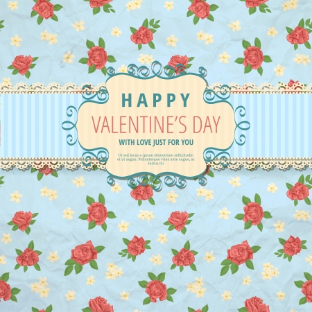 red rose: Cute valentine background with floral pattern  Illustration