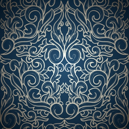 Vintage seamless wallpaper on blue gradient background