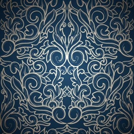 textile image: Vintage seamless wallpaper on blue gradient background