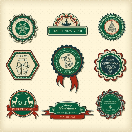 Set of Christmas labels in retro style  Vector