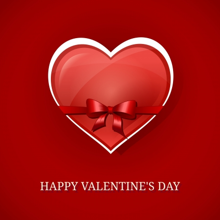 Happy Valentines day background with red heart and bow  Vector