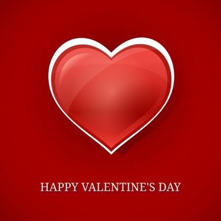 Happy Valentines day background with red heart  Ilustração