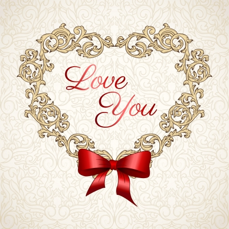 Cute valentine background in vintage style with red bow  Vector