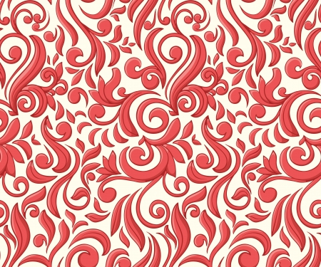 romantic: Romantic seamless wallpaper with red curls  Illustration