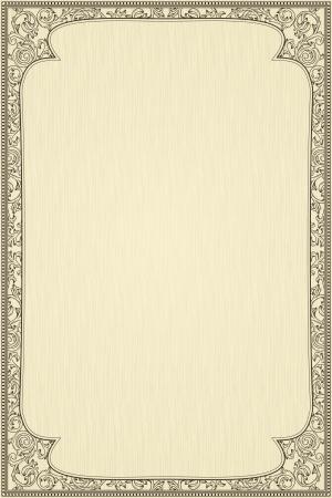 certificat diplome: Vintage frame sur fond textur� beige Illustration