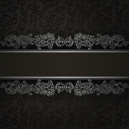 Stylish vintage background with silver ornament  Vector