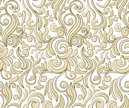 Vintage seamless pattern with beige curls on light background