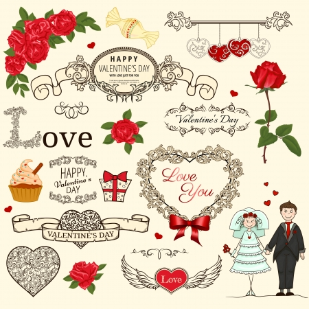 Set of Valentine design elements in retro style