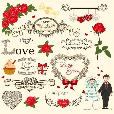 victorian people: Set of Valentine design elements in retro style