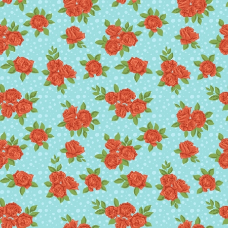 Cute floral seamless pattern on blue background  Stock Vector - 17041881