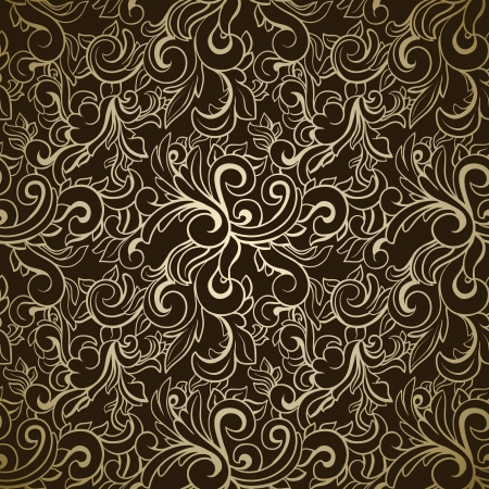 baroque: Abstract seamless pattern on dark background  Illustration