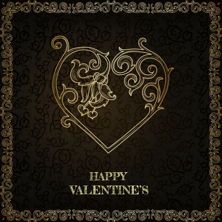Vintage happy valentine greeting card  Stock Vector - 17041913