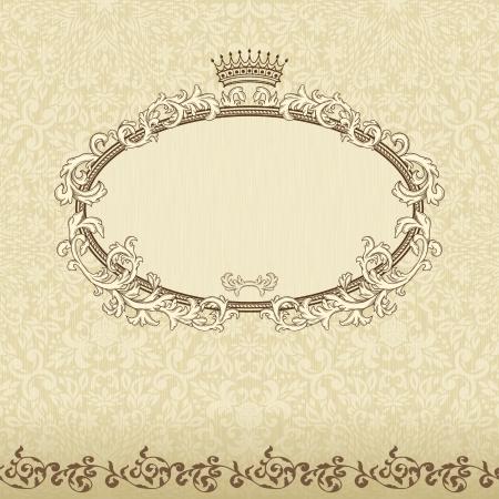 Fondo vintage con corona y patrones sin fisuras Foto de archivo - 17041918