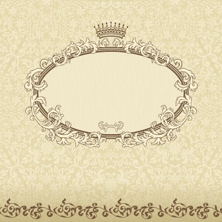vintage: Vintage background with crown and seamless pattern