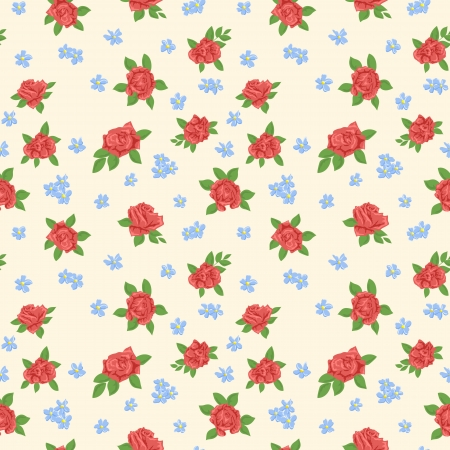 Cute floral seamless pattern on blue background Stock Vector - 17041877