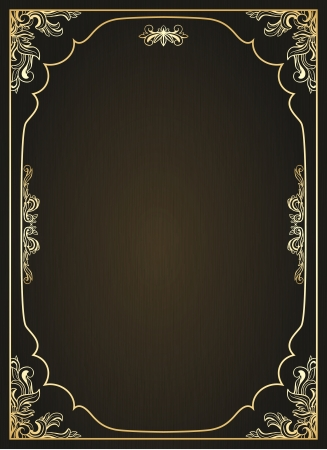 Vintage frame with golden ornament  Vector