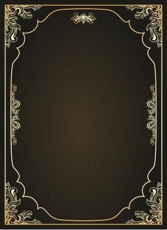 Vintage frame with golden ornament