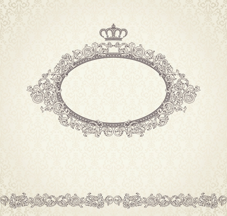 Vintage background with crown and seamless pattern  Vector