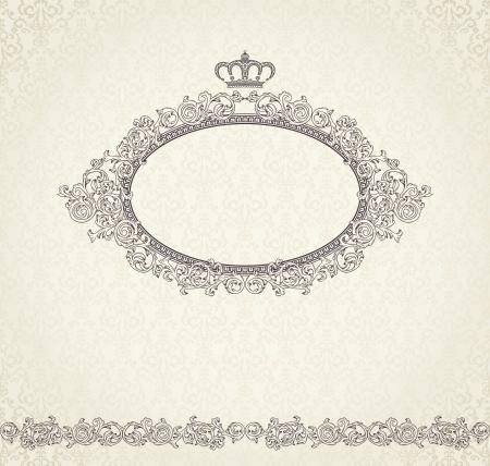crown silhouette: Vintage sfondo con corona e senza soluzione di continuit� Vettoriali