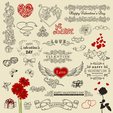 Set of vintage design elements for Happy Valentine Çizim