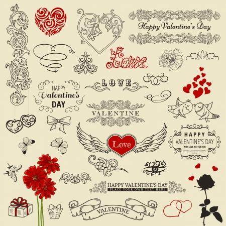 day: Set of vintage design elements for Happy Valentine Illustration
