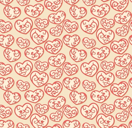 Valentine seamless wallpaper with ornate hearts  Illustration