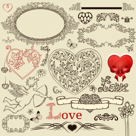 Set of vintage design elements for Valentine Day
