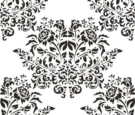 Damask naadloze patroon met rozen op een witte achtergrond Stockfoto - 17578244