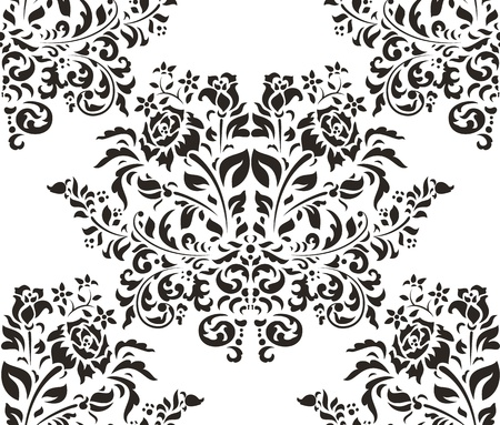 baroque: Damask seamless pattern with roses on white background