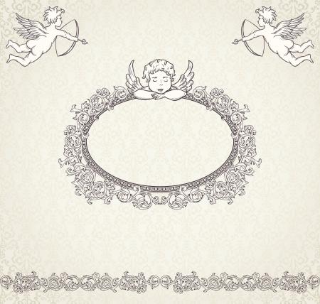 Vintage valentine background with cupids