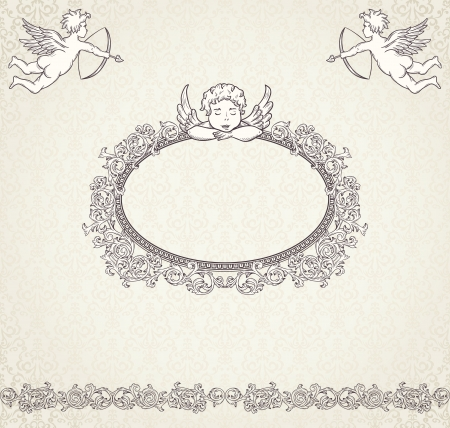 valentine cherub: Vintage valentine background with cupids