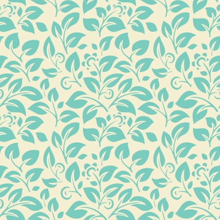 Blue seamless pattern on light backgrounds with leafs, flowers and berries Stock Vector - 17578243