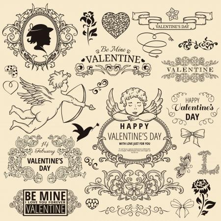 Set of vintage design element for Happy Valentine