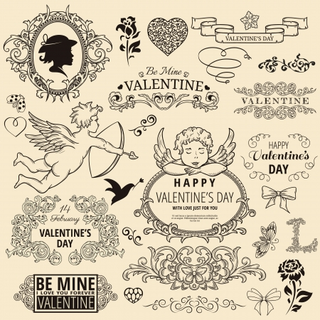 cupid: Set of vintage design element for Happy Valentine