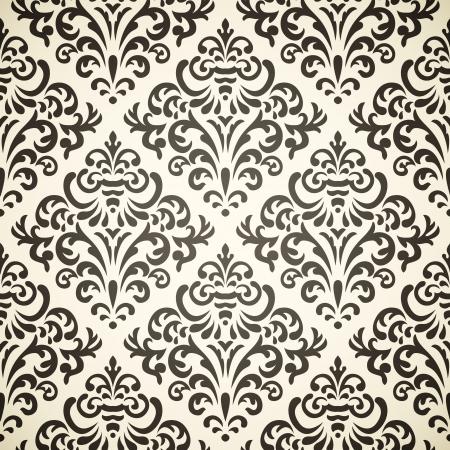 베이지 색 배경에 빈티지 원활한 패턴을 다마 스크