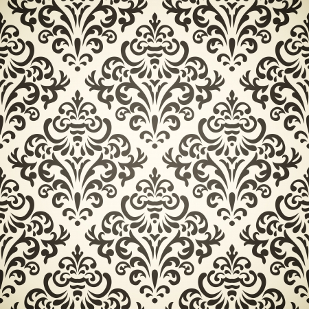 victorian wallpaper: Damask vintage seamless pattern on beige background