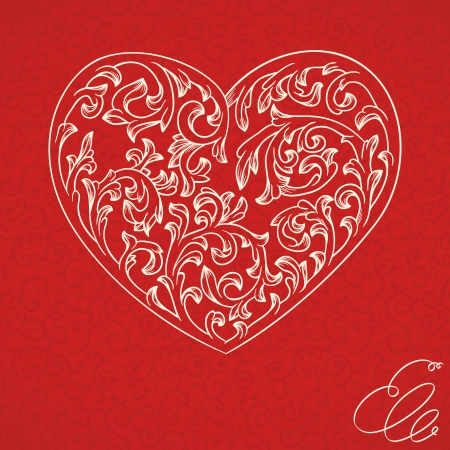 romantic: Valentine background with ornate golden heart