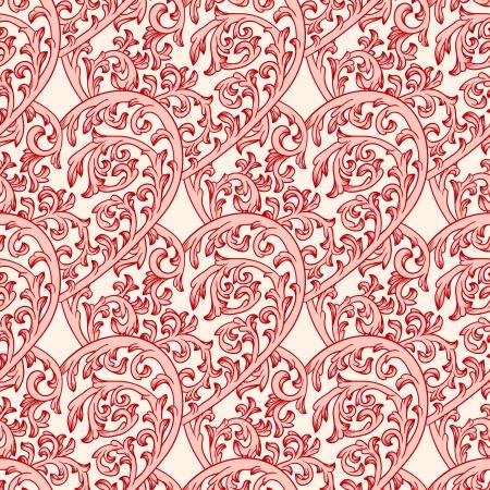 romance: Valentine seamless pattern with ornate hearts