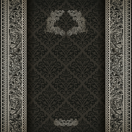 vintage postcard: Vintage background on black damask pattern with silver ornament  Illustration