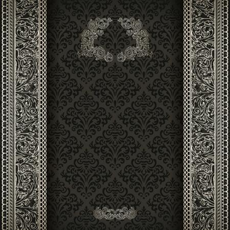 silver background: Vintage background on black damask pattern with silver ornament  Illustration