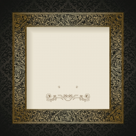 Vintage background with golden frame Stock Vector - 18263657