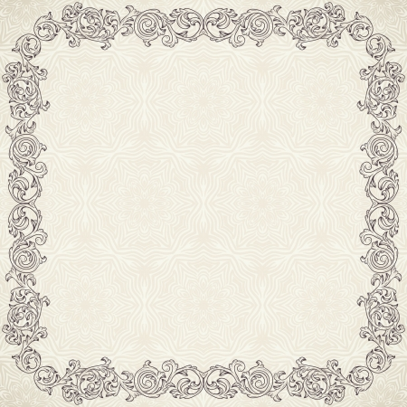 Vintage background with ornate frame  Vector