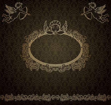 Vintage luxury background with cupids  Vector