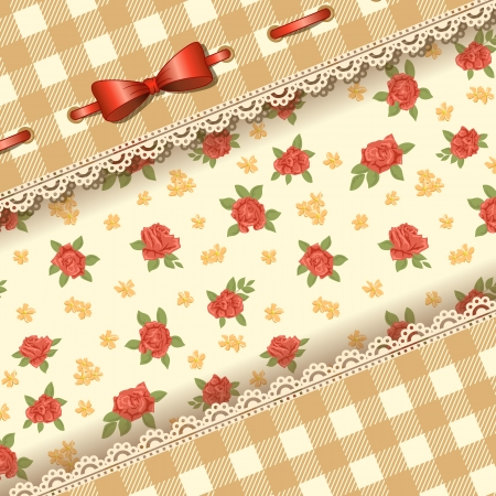 Floral background with bow and lace  Vector