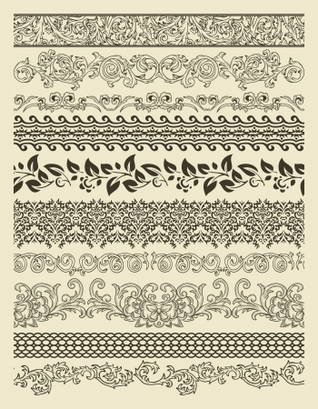 scroll border: Set of borders in vintage style